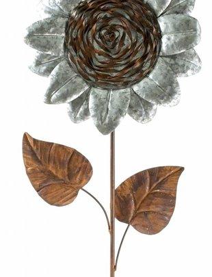 Galvanized Rustic Sunflower Stake