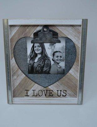 Wood & Tin Heart Photo Holder
