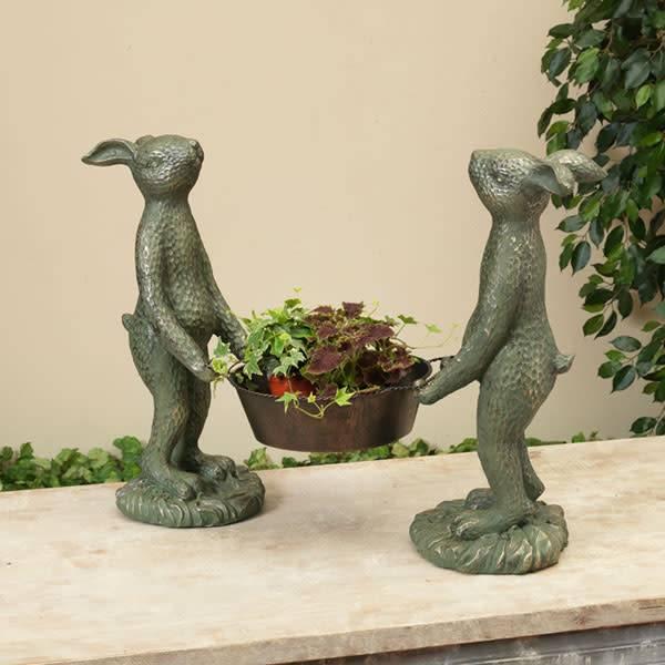 Garden Rabbits Holding Pail