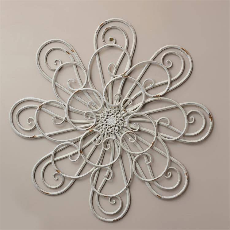 Cream Distressed Flower Wall Decor
