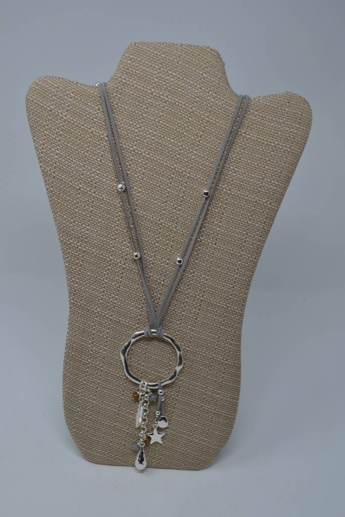 Gray Disc Necklace w/ Charms
