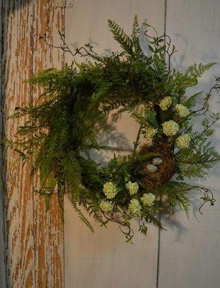 Natural Fern w/ Nest Custom Wreath