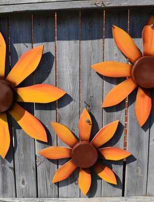 Yellow Wooden Wall Flower (3 Sizes)
