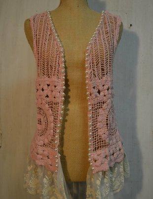 Crochet Lace Pearl Vest