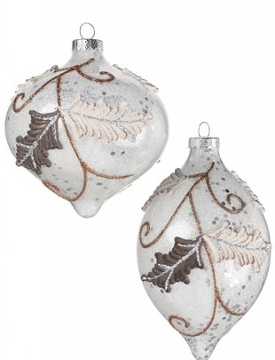 Glitter Leaf Glass Ornament (2 Styles)