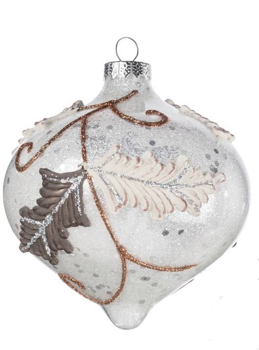 Glitter Leaf Glass Ornament