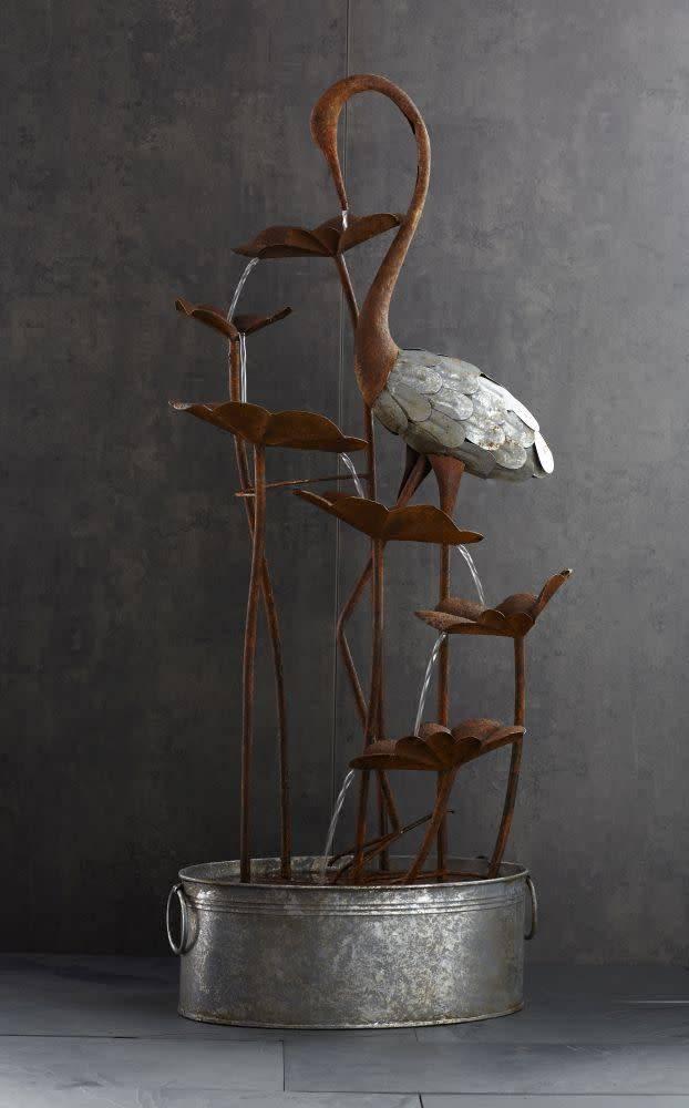 Crane & Lily Pad Fountain