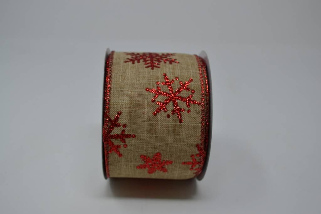 Burlap Snowflake Glitter Ribbon