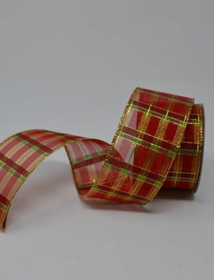 Red Gold Christmas Plaid Ribbon