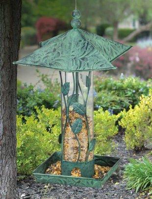 Verdigris Leaf Bird Feeder