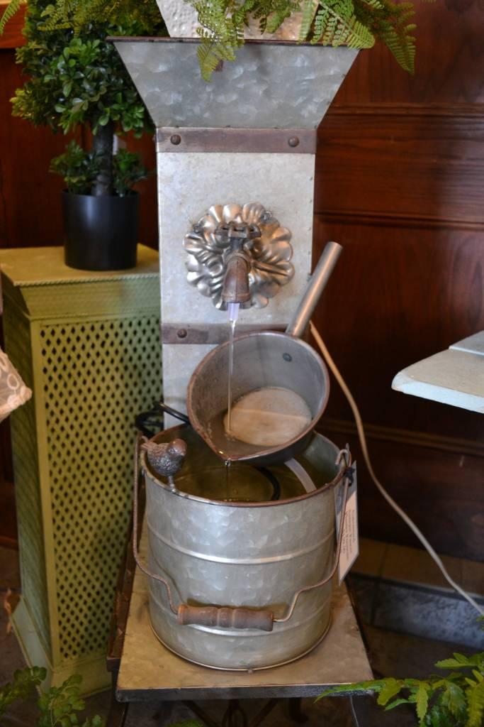 Galvanized Antique Faucet Planter Fountain The Last Straw