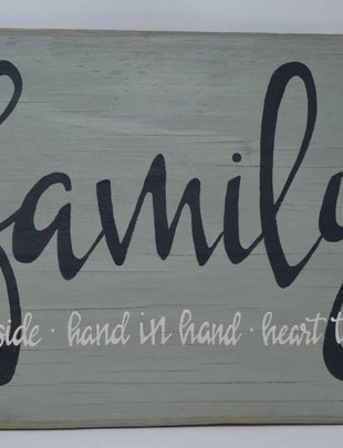 Family Heart to Heart Hand Painted Sign