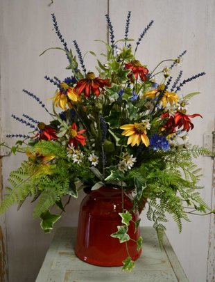 Custom Red Pitcher Wildflower Arrangement