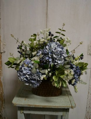 Custom Blue Hydrangea Arrangement