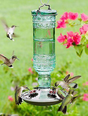 Antique Green Hummingbird Feeder