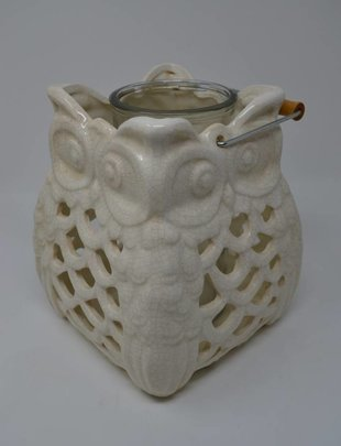 Cream Owl Lantern With Glass Insert