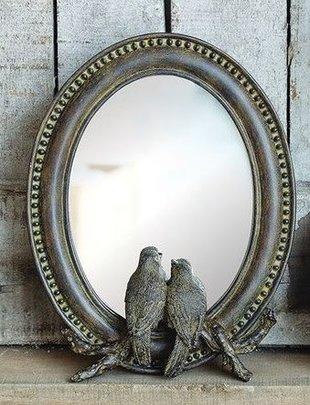 Birds On Branch Oval Mirror