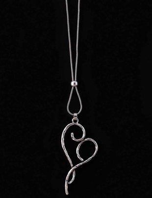 Silver Curly Heart Necklace