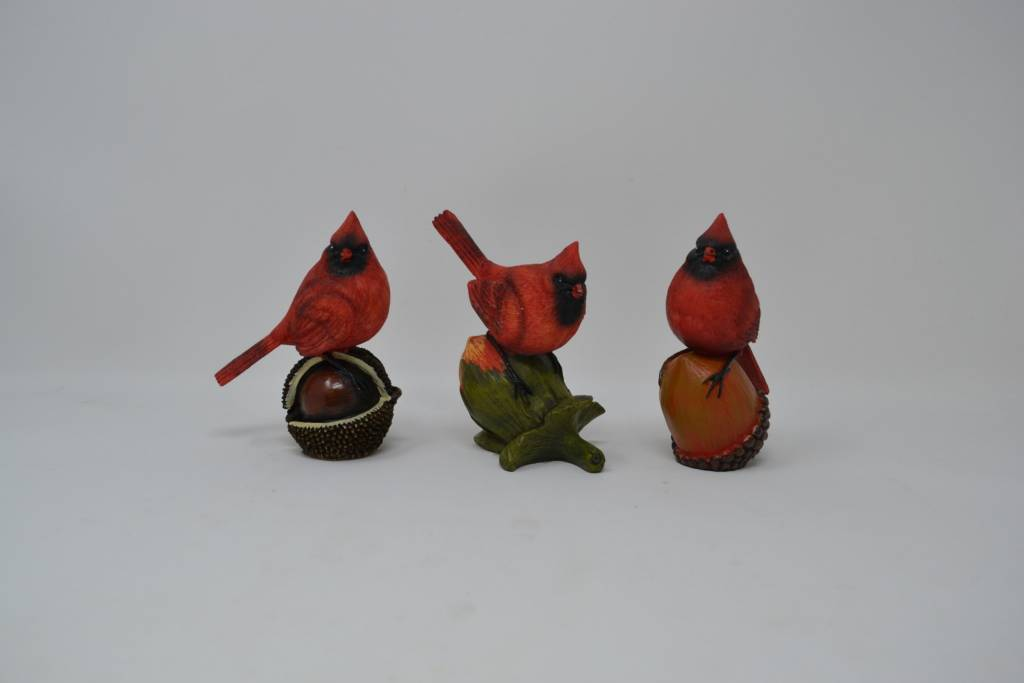 Resin Cardinals on Nuts (3 Styles)