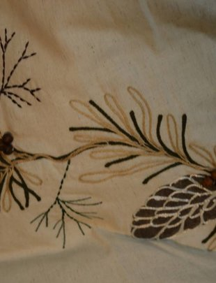 Embroidered Pine Branch Tree Skirt