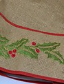 Burlap Embroidered Holly Tree Skirt