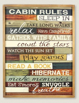Large Cabin Rules Sign
