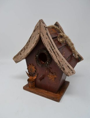 Burgundy Slated Roof Birdhouse