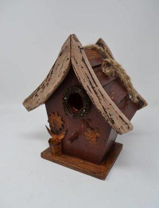 Burgundy Slatted Roof Birdhouse