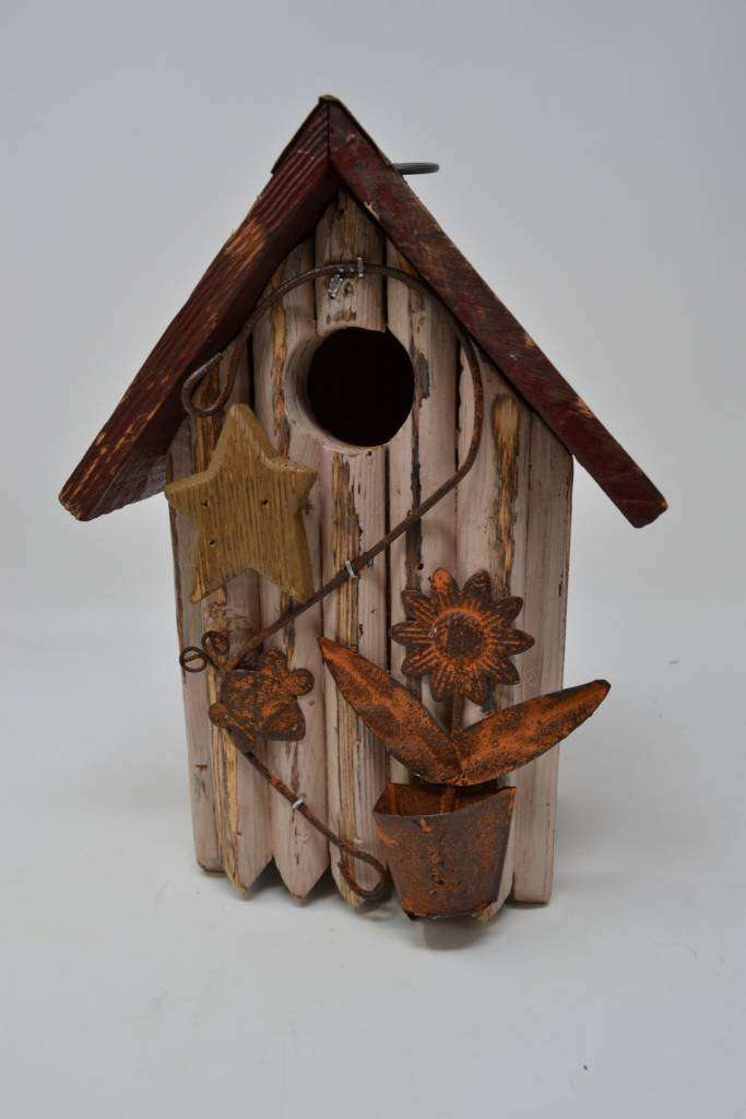 Cream Picket Birdhouse
