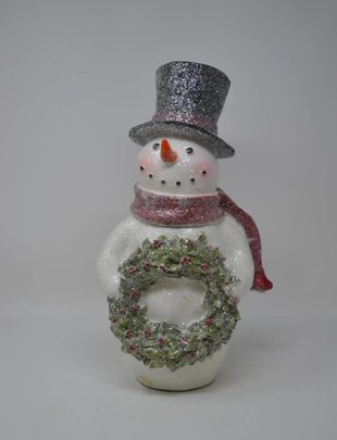 Frosted Snowman Holding Wreath