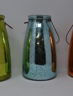 Mercury Glass Lantern w/ Lights (3 Colors)