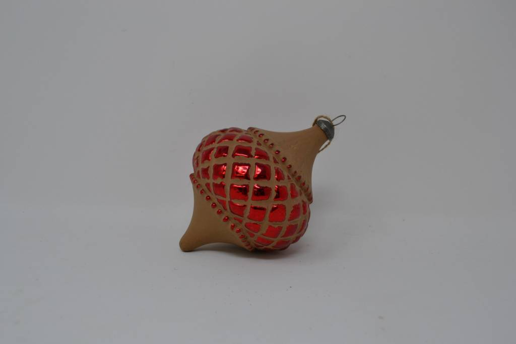 Brown Red Glass Ornament