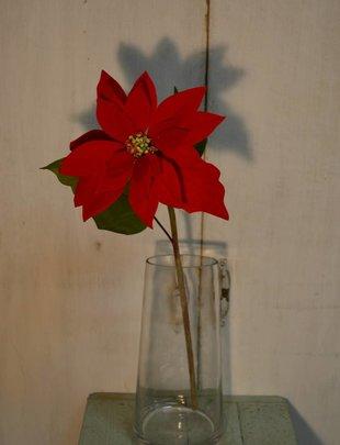 Velvet Poinsettia Stem (2 Colors)