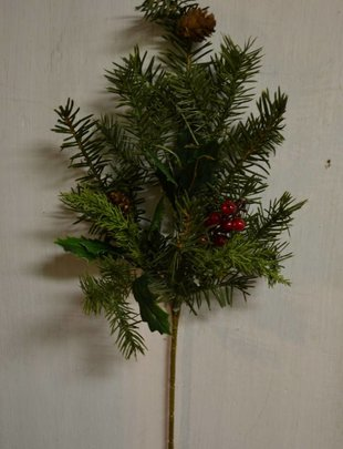 Douglas Fir w/ Holly Spray,