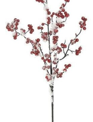 Flocked Red Berry Stem