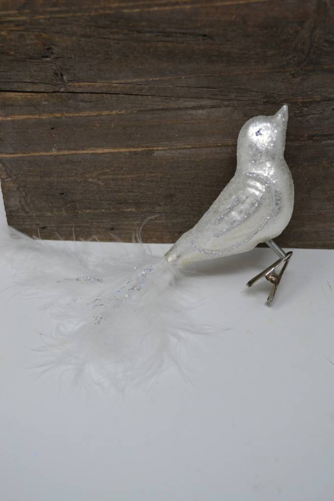 Clip On Frosted Glass Bird
