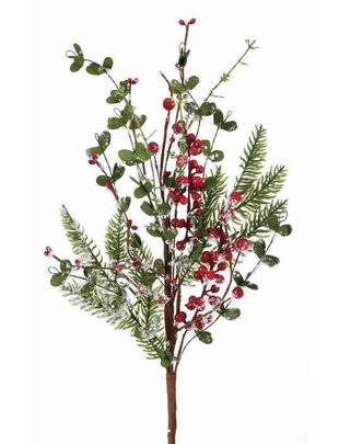 Frosted Berry Boxwood Spruce Spray