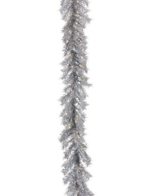 6-ft Retro Silver Tinsel Garland