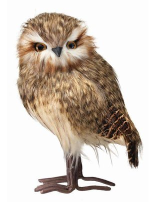 "11.5"" Speckled Feather Standing Owl"