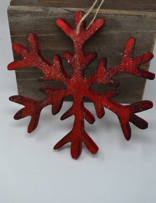 Frosted Red Birch Snowflake Ornament