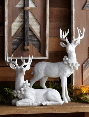 White Shimmer Deer Set of 2