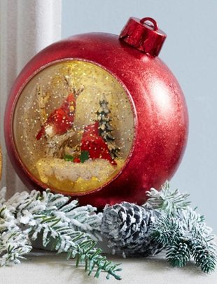 Musical Ornament Snow Globe w/ Cardinals