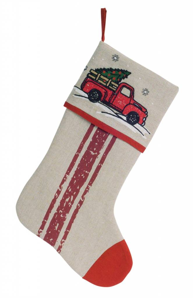 Embroidered Red Truck Stocking