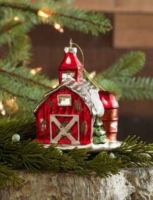 Glass Red Barn Ornament