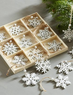 Set of Wooden Snowflake Ornament