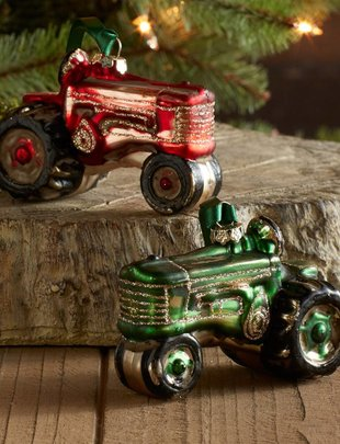 Glass Tractor Ornament (2 Colors)