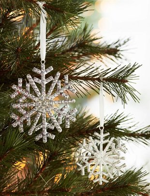 Set of 2 Rhinestone Snowflake Ornaments