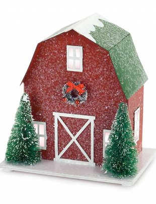 Lighted Country Red Barn