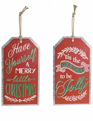 Metal Christmas Tag Sign (2 Styles)