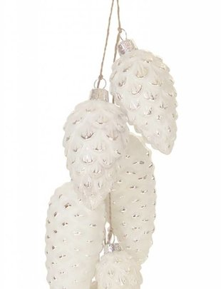White Pinecone Cluster Ornament